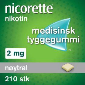 Nicorette Tyggegummi nøytral smak 2mg 210stk