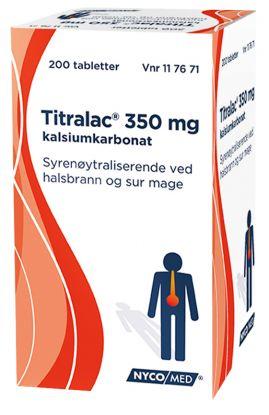 Nycomed Titralac 350 mg kalsiumkarbonat, syrenøytraliserende ved halsbrann og sur mage.