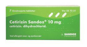 Cetirizin Sandoz 10mg tabletter 7stk