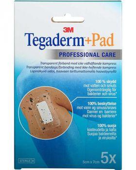 Tegaderm +pad vanntett kompress 5x7cm 5stk