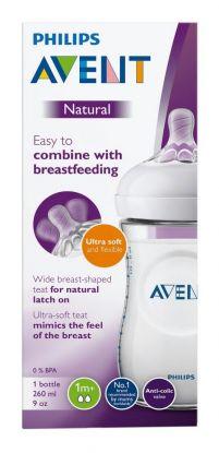 Avent Tåteflaske natural 1mnd+ 260ml