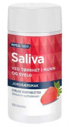 Nycodent Saliva syrlige sugetabletter med jordbærsmak som stimulerer spyttsekresjon ved tørrhet i munn og svelg, 100 tabletter.