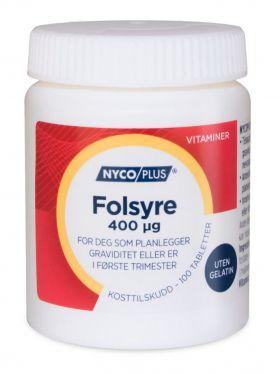 Nycoplus Folsyre 400 mikrogram tabletter 100stk