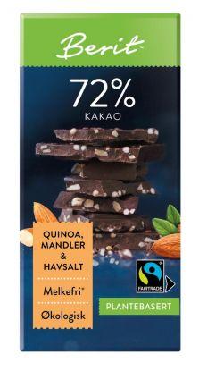 Melkefri Sjokolade Quinoa, Mandler & Havsalt 72% Kakao